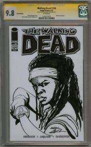 Walking Dead  #109 CGC 9.8  Signature Series Signed Neal Adams Michonne Sketch OA